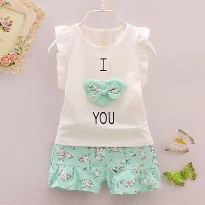 Baby Girls Clothes Set Children Vest +Flower Pants Set Kids Clothes I love you Design 2016 Summer Clothing  High Quality - Honeybee Line - 2