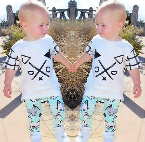 2Pcs/set Toddler Kids Baby Boys Short sleeve T-shirt Long Pants - Honeybee Line