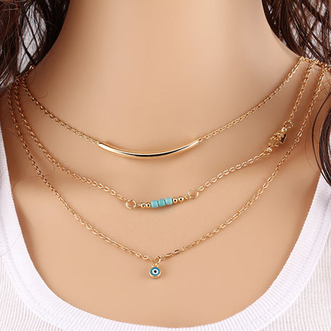 Hamsa Hand Of Fatima Evil Eye Turquoise Bead Pendants Bib Necklace Choker - Honeybee Line