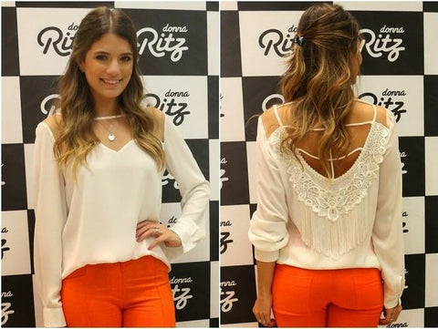 New Autumn 2015 European And American Fashion Sexy Backless White Long Sleeve Chiffon Blouse Shirt Loose Tops Blusas Femme BH674 - Honeybee Line - 2