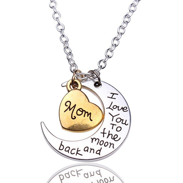 I Love You To The Moon And Back Silver Necklace Vintage Family Necklaces Pendants Fashion Women Jewelry Mom Christmas Gift A190 - Honeybee Line - 1
