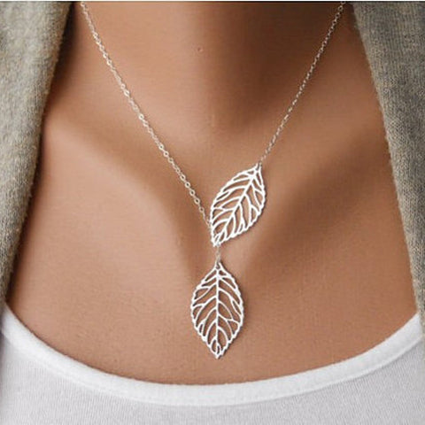 Double Leaf Necklace - Honeybee Line - 2
