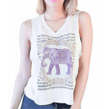 Summer Tops Fashion Sleeveless Women Tank Top Harajuku Elephant Print Crop Top Camisetas Sport V-neck camisole tees 63 - Honeybee Line - 2