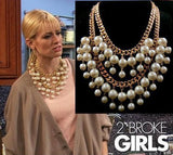 Beautiful white pearl Multilayer beads Chunky statement collar chain Necklaces - Honeybee Line - 1