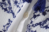 Ethnic blue and white embroidered Porcelain floral loose shirt
