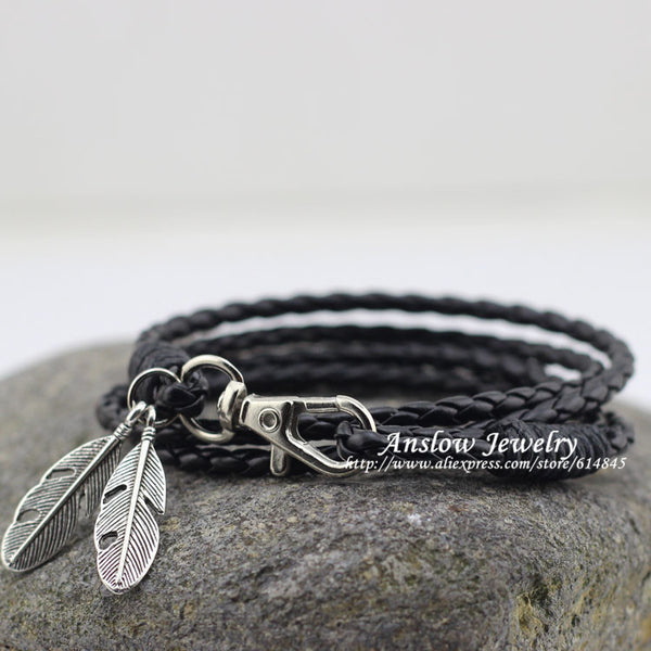 PU Leather Charm Friendship Bracelets & Bangles Feather Accessories Wedding Men Jewelry - Honeybee Line - 1