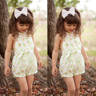 Toddlers Girls Lace Floral Jumpsuit Playsuit Romper Kids Clothes 2-7Y - Honeybee Line