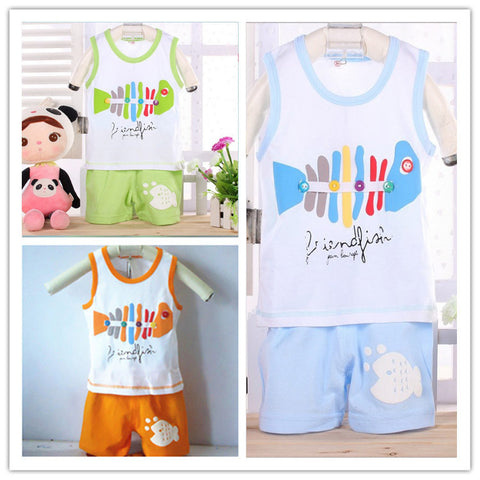 Casual fish print kids clothes sets -Boy - Honeybee Line