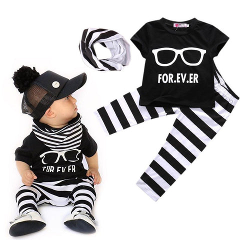 Summer T-Shirt+Pants+Scarf Infant Clothing