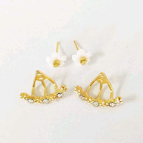 Korean Fashion Imitation Pearl Earrings Small Daisy Flowers Hanging - Honeybee Line - 2