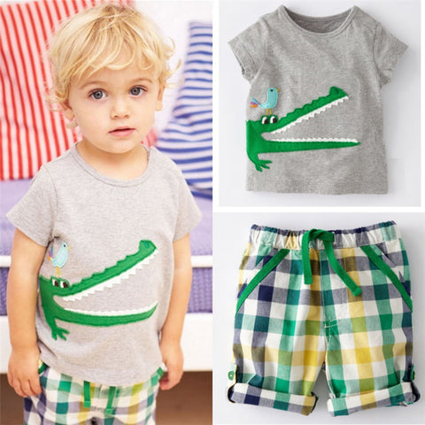 Cartoon Crocodile Print Baby Kids Boys Clothes Set - Honeybee Line