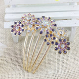 Beautiful Crystal Rhinestone Decorate Petal Tuck Hair Comb Flower Pin Hair Clip - Honeybee Line - 3