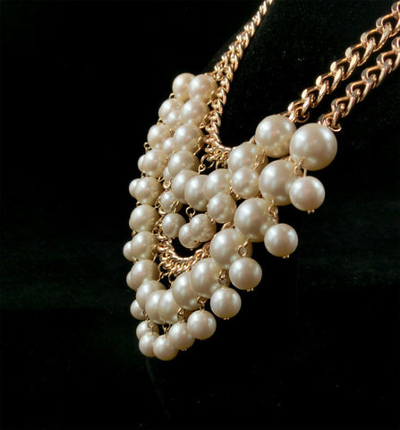 Beautiful white pearl Multilayer beads Chunky statement collar chain Necklaces - Honeybee Line - 2
