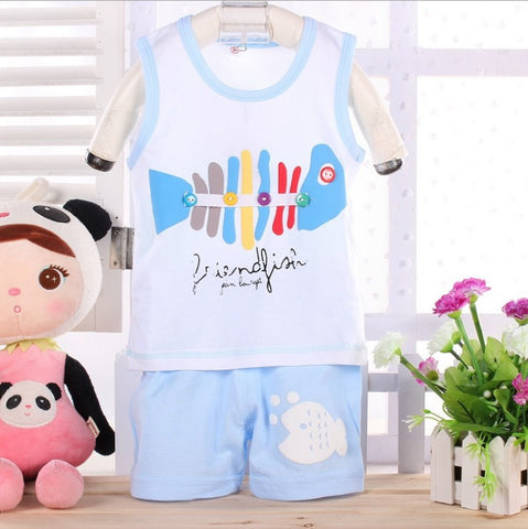Casual fish print kids clothes sets -Boy - Honeybee Line - 5