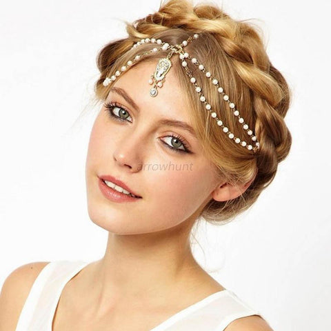 Boho Women Pearl Gold Wedding Headdress Headband Head Band Crown Chain Headpiece - Honeybee Line - 2