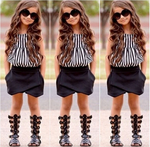 Girls Summer Striped Tops Blouse Black Bloomers Shorts Outfits set - Honeybee Line
