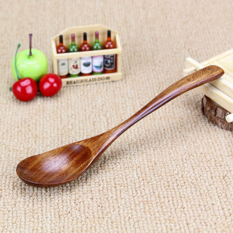 5 pieces Wood Spoons 20cm Big Coffee Spoon - Honeybee Line