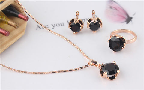 14K Rose Gold Filled 4 Colors Sapphire necklace earrings ring jewelry set Gift - Honeybee Line - 4