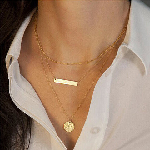3 Layer Big Promotion Bar Necklace - Honeybee Line - 3
