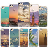 Phone Case Cover for Apple iphone 4 4s Mountain Ocean Eiffel Tower painted Soft Sillicon Transparent TPU Mobile Phone Bags Back - Honeybee Line - 1