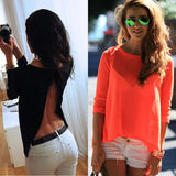 New Fashion Women Ladies Long Sleeve Shirt Sexy V Neck Loose Chiffon Tops Blouse - Honeybee Line - 1