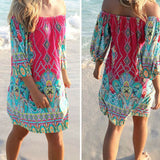 Sexy Summer Casua Cocktail Party Charm Boho Hippie Mini Dress