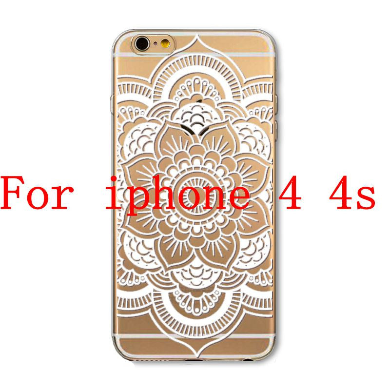 Phone Cases for Apple iPhone 4 4S 5 5S SE 5C 6 6S 6Plus 6s Plus HENNA DREAM CATCHER Ethnic Tribal TPU Silicon Covers Capa Back - Honeybee Line - 15