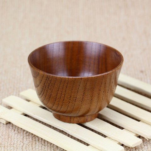 "New Wood Bowl 10cm 3.94"" Child Bowl Classic Heat Insulation Rice Bowl Creative Soup Bowl Wood Tableware - Honeybee Line"