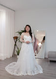 Bride Amanda - Sleeves Mermaid Wedding Dress with Aline Overskirt