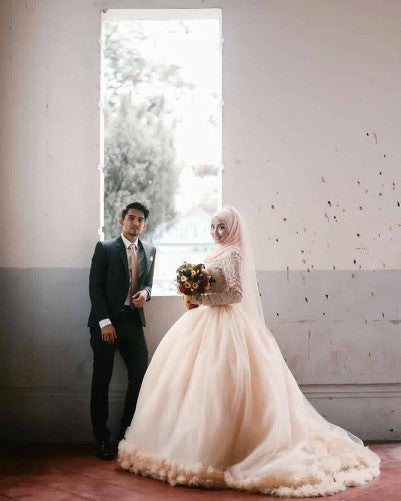 Drop Sleeve Wedding Gowns With: Long Sleeves Drop Waist Ball Gown Wedding