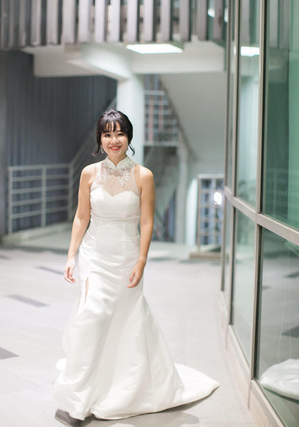 Bride Annie - Minimal and Sleek Satin Mermaid Wedding Dress with Detachable Top