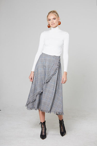 Plaid Fringe Midi skirt