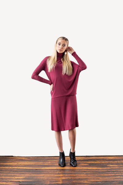 Asymmetric Dolman Sleeve Turtleneck