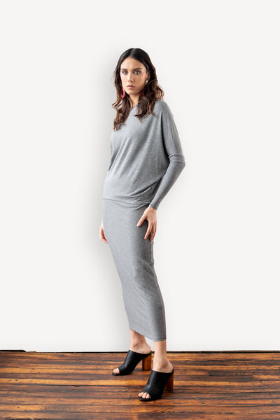 Asymmetric Dolman Sleeve Crew Neck
