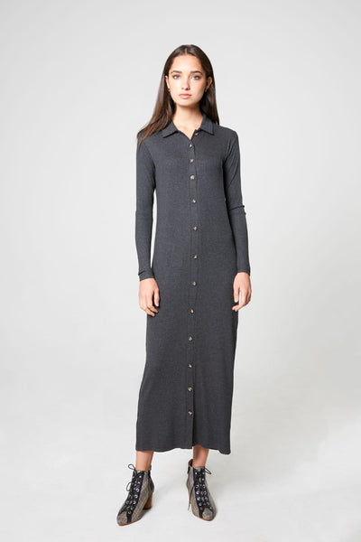 Ribbed Shirtdress-Thin Ribbed