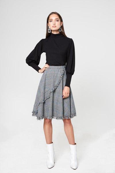 Plaid Fringed Skirt