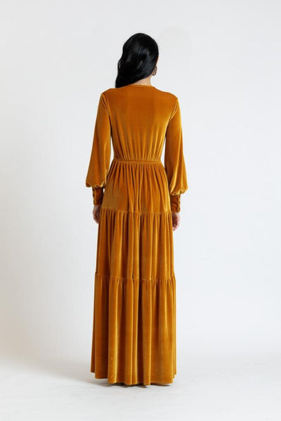 Tiered Velvet Maxi Dress-Slight Imperfection