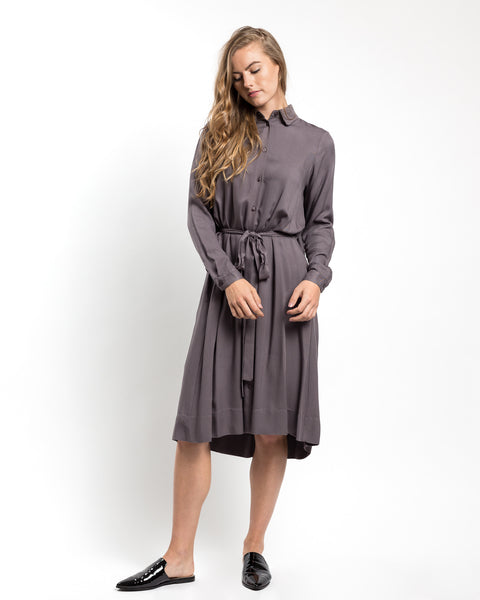 Pleat Back Shirt Dress