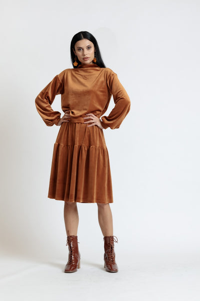 Velour Tiered Skirt