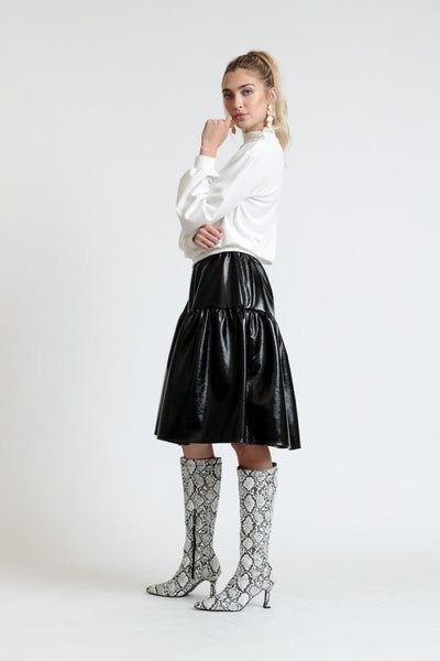 Patent Leather Tiered Skirt