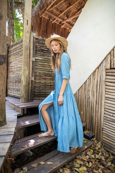 Tiered Maxi Dress- Denim