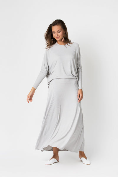 Ribbed Illusion Maxi Dress- A-line