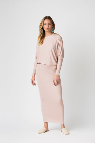 Ribbed Illusion Maxi Dress-Straight