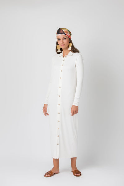 Ribbed Shirtdress-Midi