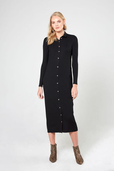 Ribbed Shirtdress-Wide Ribbed