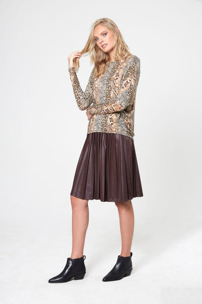 Leopard Asymmetric Dolman Sleeve Knit Sweater
