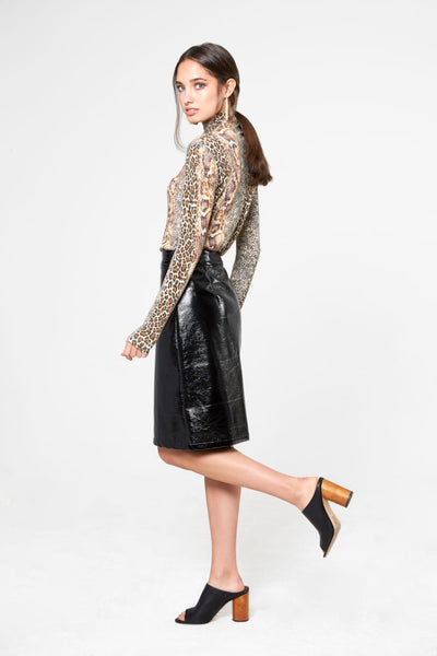 Leopard Knit Funnel Neck Top