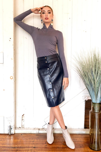 Patent Leather Snap Skirt