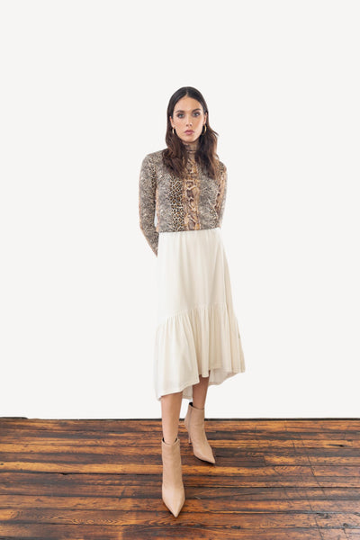 Asymmetric Velvet Skirt