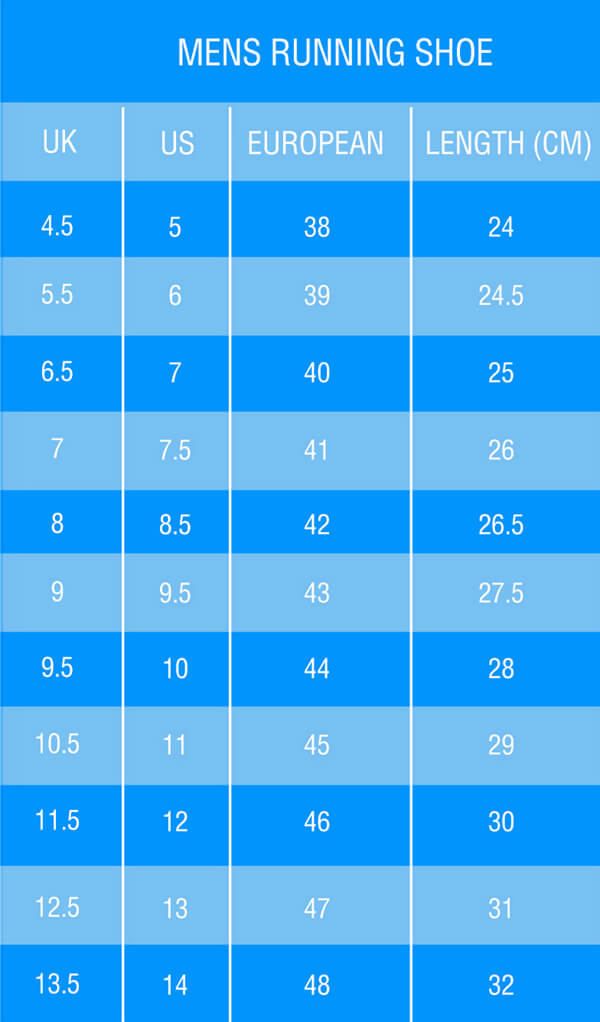 Sneakers Sizing Chart for Men - LENGTH